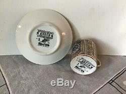 #1 Vintage GRECA Fornasetti Italian Pottery Demitasse Cup Saucer
