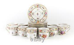 10 Dresden Carl Thieme Hand Painted Floral Demitasse Cup & Saucers, c1910