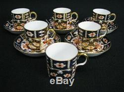 11 Pc Royal Crown Derby Traditional IMARI Tiffany Demitasse Cups & Saucers