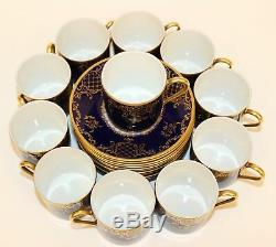11 Rosenthal Cobalt Blue & Gold Demitasse Cup & Saucer Sets