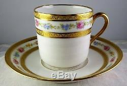 12 A La Paix French China Paris Floral & Gold Demitasse Cup & Saucer Sets