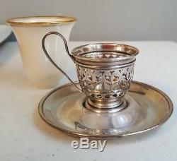 12 Gorham Sterling Silver & Lenox Porcelain Demitasse Cups & Saucers #A5549 & 50