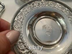 12 Lenox Demitasse 2oz Cups With Sterling Silver Holder And Saucers