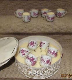 12 Pristine Antique Herend INDIAN BASKET RASBERRY Demitasse Cups & Saucers