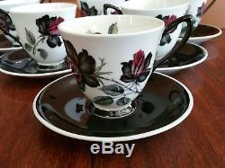 12 pc ROYAL ALBERT BONE CHINA ENGLAND MASQUERADE DEMITASSE COFFEE CUP & SAUCERS