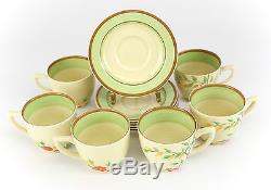 12pc Clarice Cliff Porcelain Demitasse Cups & Saucers Newport Vintage Floral