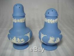 14 Pieces Vintage Wedgwod Blue Jasperware Demitasse Cups & Saucers Creamer Sugar