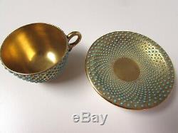 1891-1919 Coalport Turquoise Jeweled Demitasse Cup & Saucer Gold Gilt