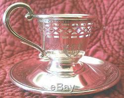 1910s Set of 12 Demitasse Cups Saucers Porcelain Inserts Sterling Silver Vintage
