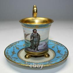 1914 Hutschenreuther Handpainted Demitasse Cup & Saucer Seascape & Portrait