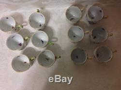 1915-30 12ea Herend Rothchild Birds Demitasse/After Dinner Cups Perfect