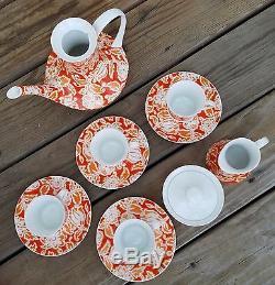 1969 Block Valencia Demitasse Set-teapot, Creamer, Sugar Bowl, 4 Cups & Saucers
