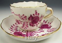 1st Quality Meissen Puce Painted Banded Hedge Demitasse Tea Cup Saucer Teacup