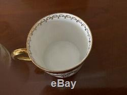 2 Antique French Napoleon Porcelain Demitasse Cup and Saucer One Pair