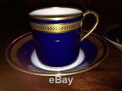 2 Limoges Cobalt Blue & Gold Demitasse Cup & Saucer Palaiseau Bernardaud #0902