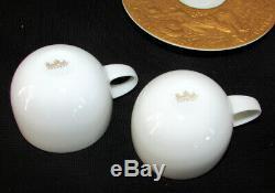 2 Rosenthal Magic Flute Gold Sarastro Demitasse Cups And Saucers Bjorn Wiinblad