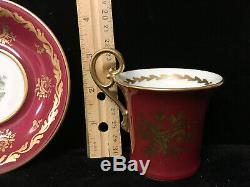 2 Sets of Sevres Red Demitasse Cup & Saucer Hand Painted Roses