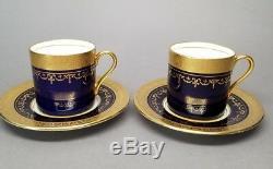 2 x Aynsley GEORGIAN COBALT SMOOTH Flat Demitasse Cup Saucer Sets 7348 READ #2