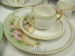 23 Pieces Limoges Hand Painted Roses Demitasse Tea Dessert Cups Saucers Set