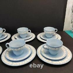 24 Pcs Wedgwood Queensware Blue Demitasse Cups & Saucers & Bread Plates