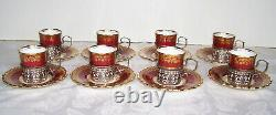 24pc. Antique Birks Aynsley Demitasse Cups & Saucers w Sterling Silver Holders