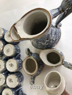 27pc Capodimonte Blue Cherubs Coffee Pot Creamer Sugar Demitassewith Original Box