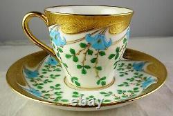 3 Rare Minton Gold Encrusted Blue & Green Enameled Demitasse Cup & Saucer Sets