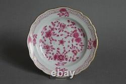 3pc Demitasse Cup Set 1st Meissen Indian Painting Purple Pink Flowers Rich Cross