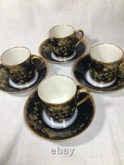 (4) Antique GDA Limoges DEMITASSE SET, Cobalt Blue & Gold Encrusted Florals