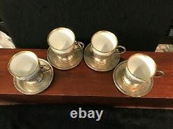 4 FISHER STERLING Demitasse/coffee Cups & Saucers Hutschenreuther Selb Bavaria