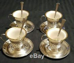 4 Gorham Sterling Silver & Lenox Porcelain Demitasse Cups with Saucers #A5549 & 50