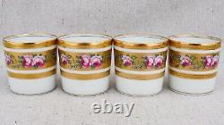 4 Haviland Limoges Louis Philippe Rose Pattern Demitasse Coffee Tea Cups Saucers