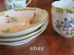 4 Herend Queen Victoria Demitasse Cup and Saucer sets great condition