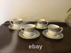 4 LENOX AUTUMN PATTERN IVORY BONE CHINA DEMITASSE CUPS and SAUCERS