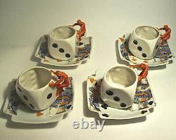 4 Royal Bayreuth Bavaria Demitasse Dice Cups/devil Handles & Card Saucers Rare