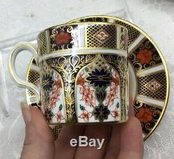 4 Royal Crown Derby Old Imari Demitasse Cups Saucers Set Lot