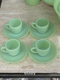4 Sets Fire King Jadeite Restaurant Ware RW Demitasse Espresso Cups & Saucers
