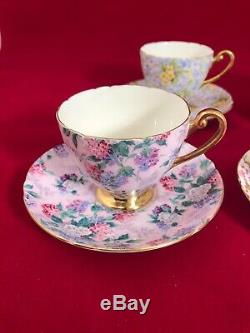 4 Shelley English Bone China Chintz Demitasse Cup Saucer Sets Ex Cond