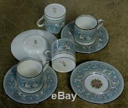 4 Wedgwood Bone China England Florentine Turquoise Demitasse Cup & Saucers W2714