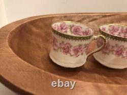 4 mint demitasse cups /saucers, pink roses, double gold, Haviland, Limoge