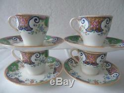 4 x Rare Antique Minton Mintons Patt B157 Demitasse Coffee Cups & Saucers c1866