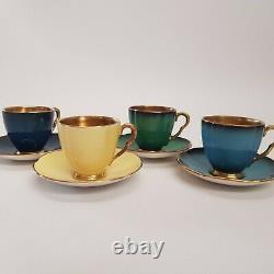 4x Carlton Ware Royale Demitasse Espresso Cups & Saucers Gold Interior Colourful