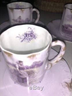 5 Antique Rosenthal R. C. Monbijou HELIOS Portrait Tea Demitasse Cups & Saucers