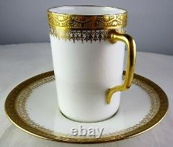 5 Limoges Antique Porcelain Tall Demitasse Cup & Saucer Sets White Heavy Gold