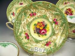 5 Royal Worcester Hand Painted Flower Gold Encrusted Demitasse Cups & Saucers