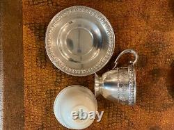 5 Vintage Sterling Silver Demitasse Cups and Saucers with Porcelain Inserts