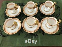 6 ANTIQUE Richard Ginori Italian Espresso Cups & Saucers Demitasse DOCCIA Italy