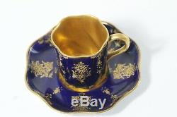 6 Antique Late 19thC Coalport Coalt Blue & Gold Gilt Demitasse Cups & Saucers