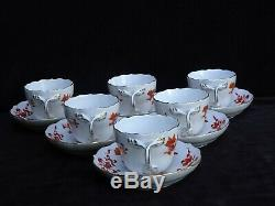 6 Antique Meissen Rich Court Dragon Red Demitasse Cups & Saucers 1st Quality