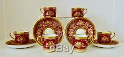 6 Antique Mintons Demitasse Cups & Saucers, Made for Tiffany